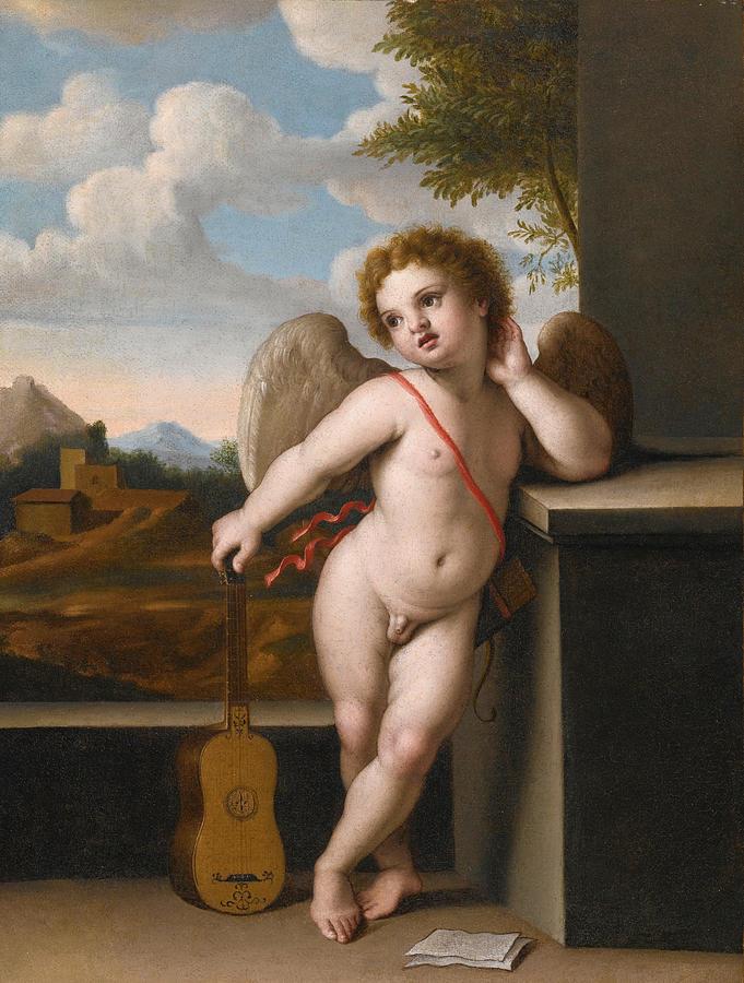 Sassoferrato Painting - An Angel Holding A Guitar by Sassoferrato