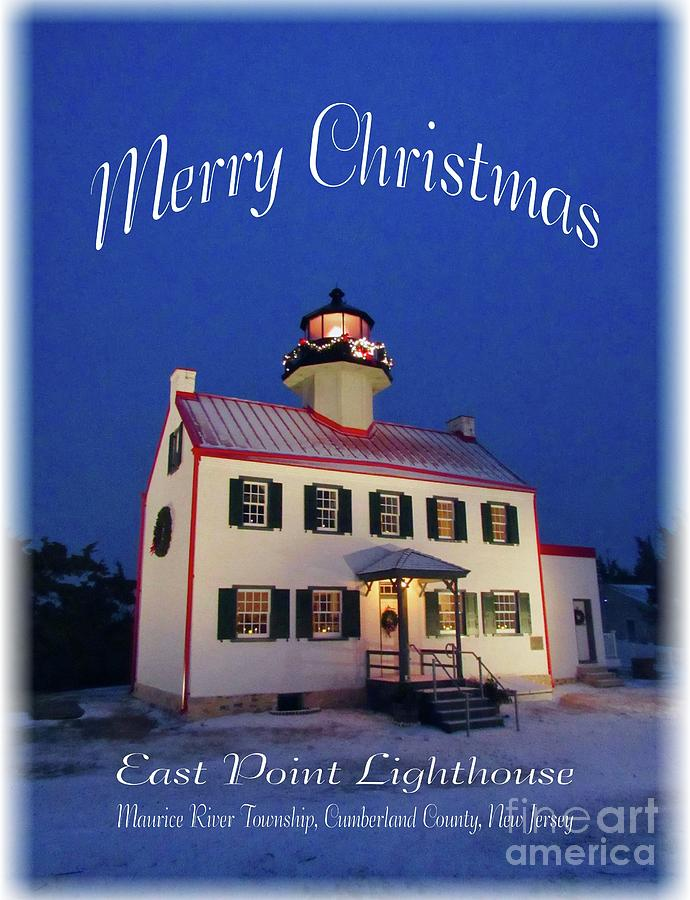 An East Point  Lighthouse Merry Christmas  by Nancy Patterson