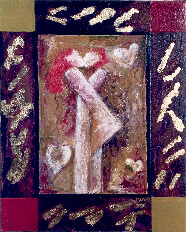 Lovers Painting - And Kisses by Leslie Marcus