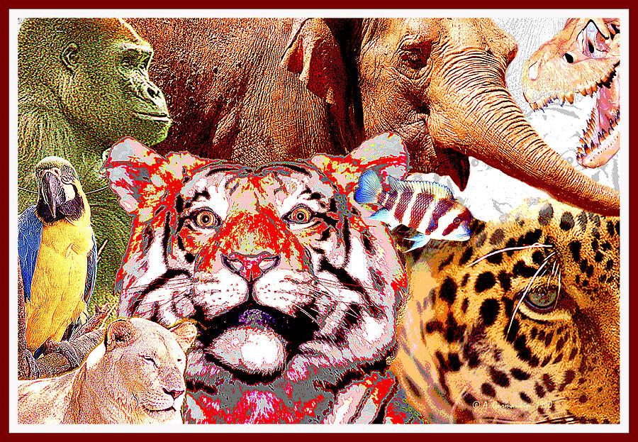 Animals Digital Art - Animal Collage, Digital Art by A Gurmankin