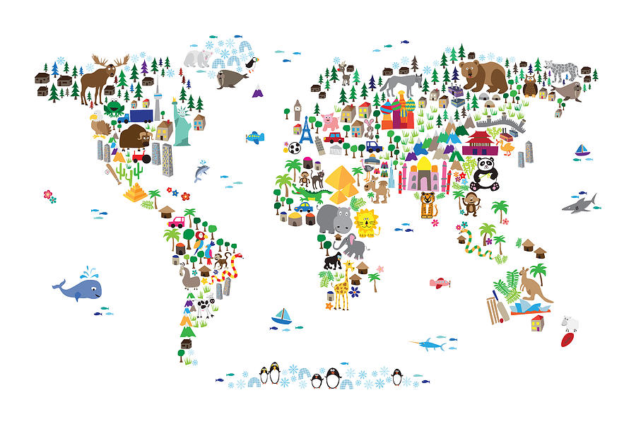 f670ec08f90 Animal Map Of The World For Children And Kids Digital Art by Michael ...
