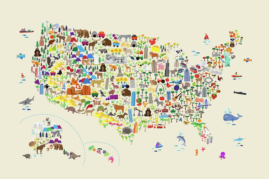 Animal Map Of United States For Children And Kids Digital Art by