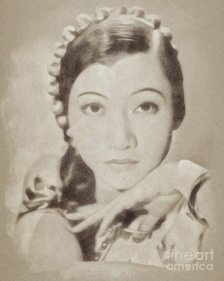 Anna May Wong, Vintage Hollywood Actress Drawing