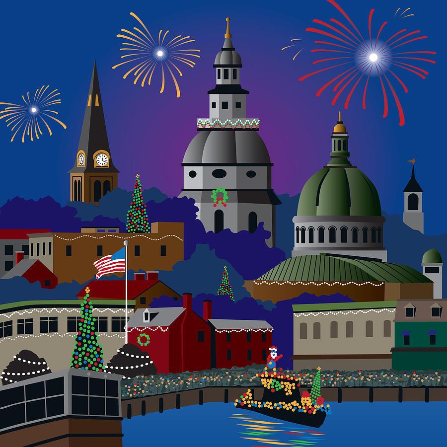 Holiday Digital Art - Annapolis Holiday by Joe Barsin