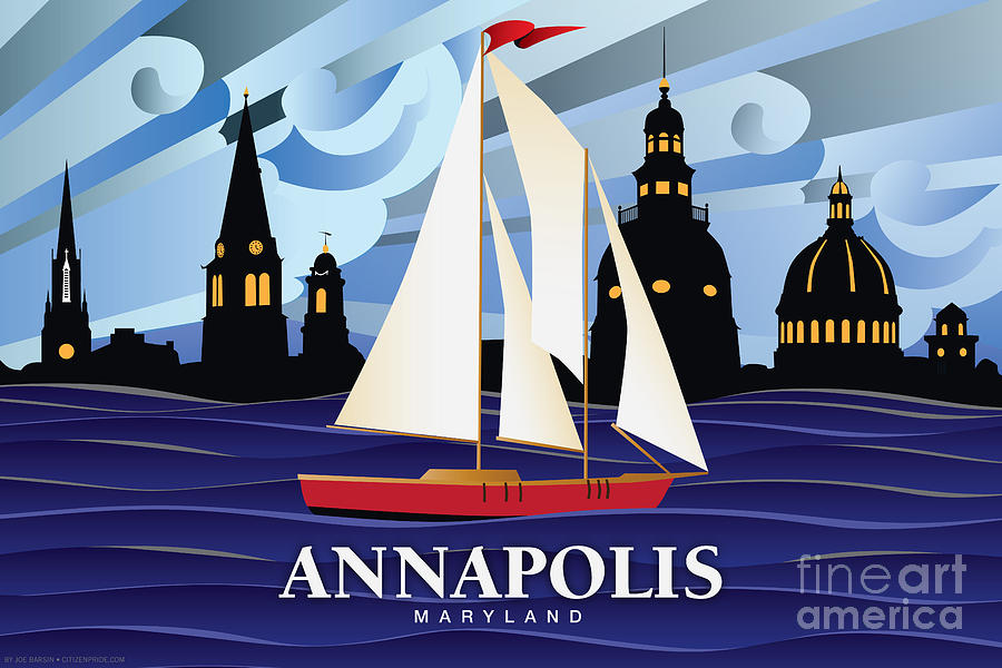 Annapolis Digital Art - Annapolis Skyline Red sail boat by Joe Barsin