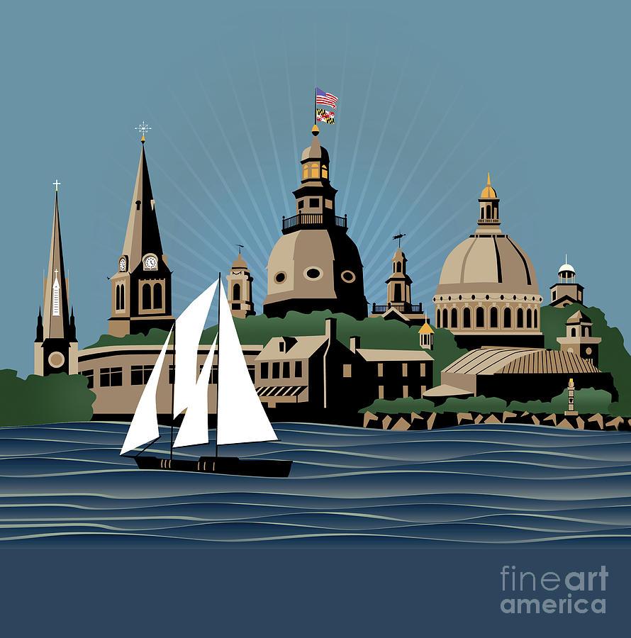 Annapolis Digital Art - Annapolis Steeples And Cupolas Serenity by Joe Barsin