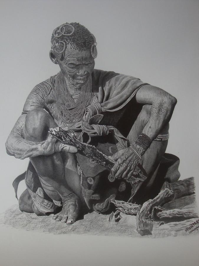 African Drawing - Another Day by Lemington  Muzhingi
