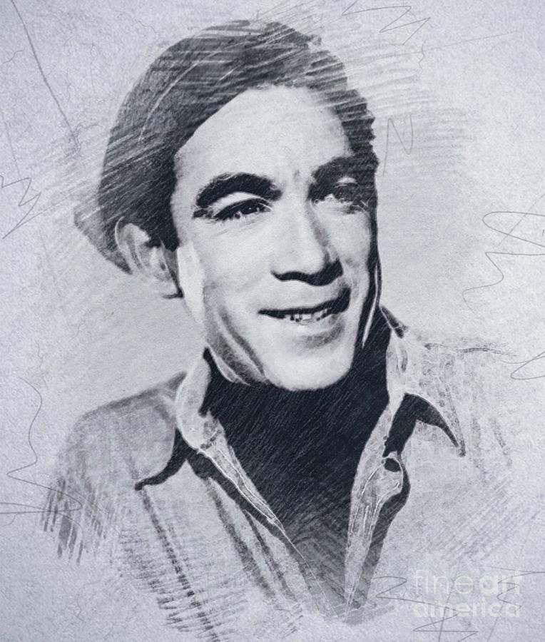 Anthony Quinn, Vintage Actor Drawing