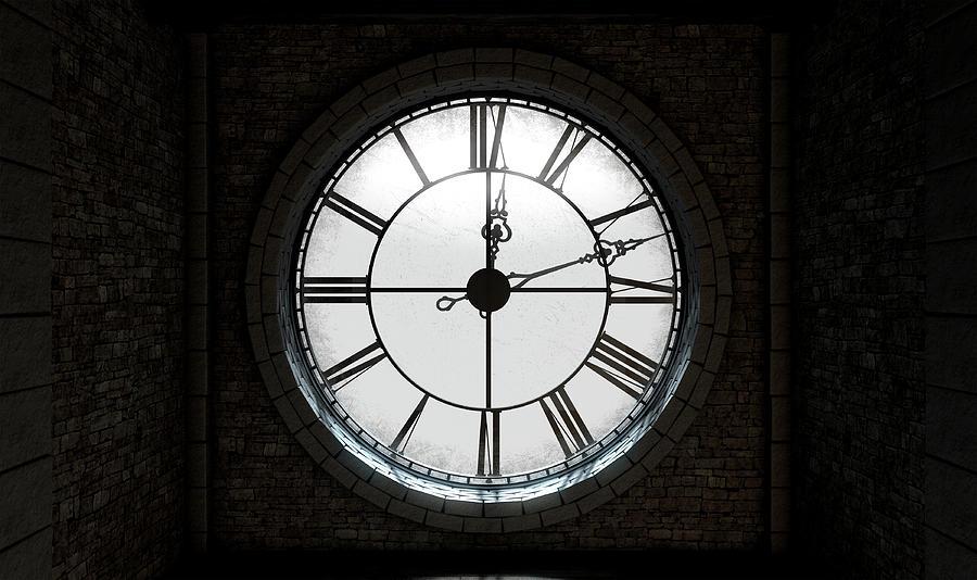 Timepiece Digital Art - Antique Backlit Clock by Allan Swart