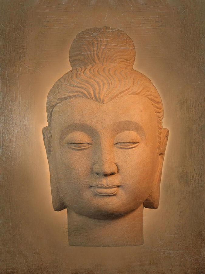 Antique Photograph - antique oil effect Buddha Gandhara. by Terrell Kaucher