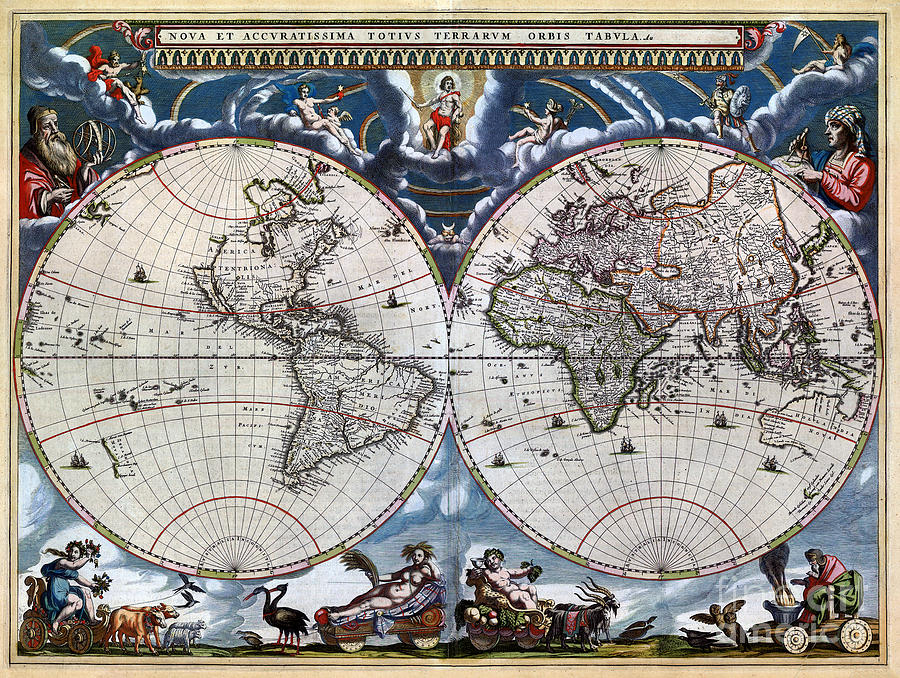 Antique old world map 1664 restored drawing by carsten reisinger word drawing antique old world map 1664 restored by carsten reisinger gumiabroncs Images