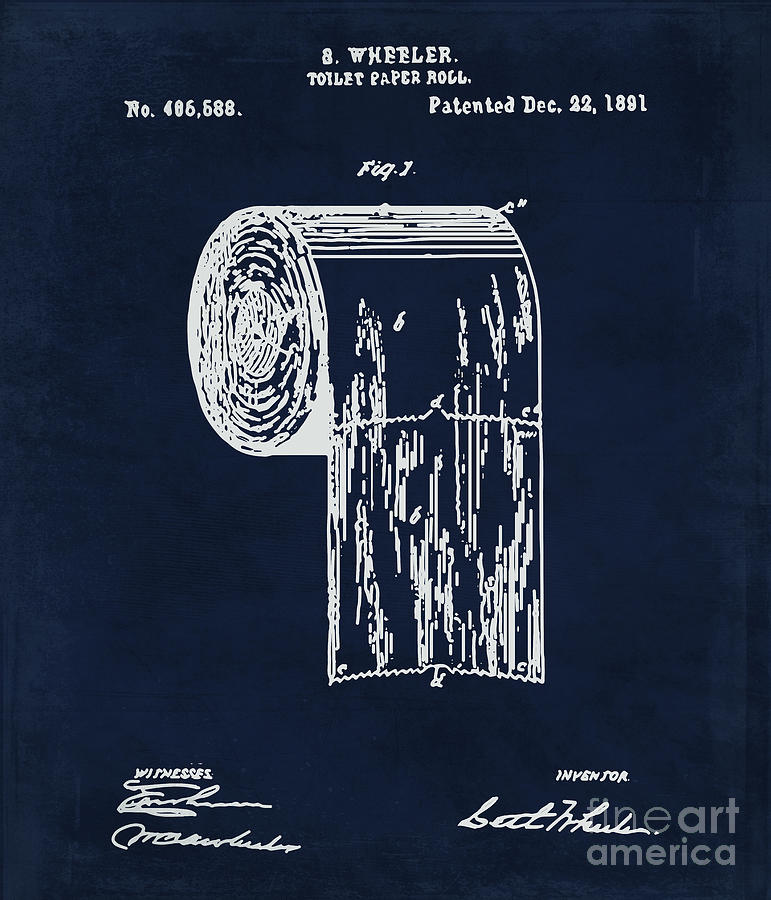 Antique toilet paper roll blueprint patent illustration painting by toilet painting antique toilet paper roll blueprint patent illustration by tina lavoie malvernweather Image collections