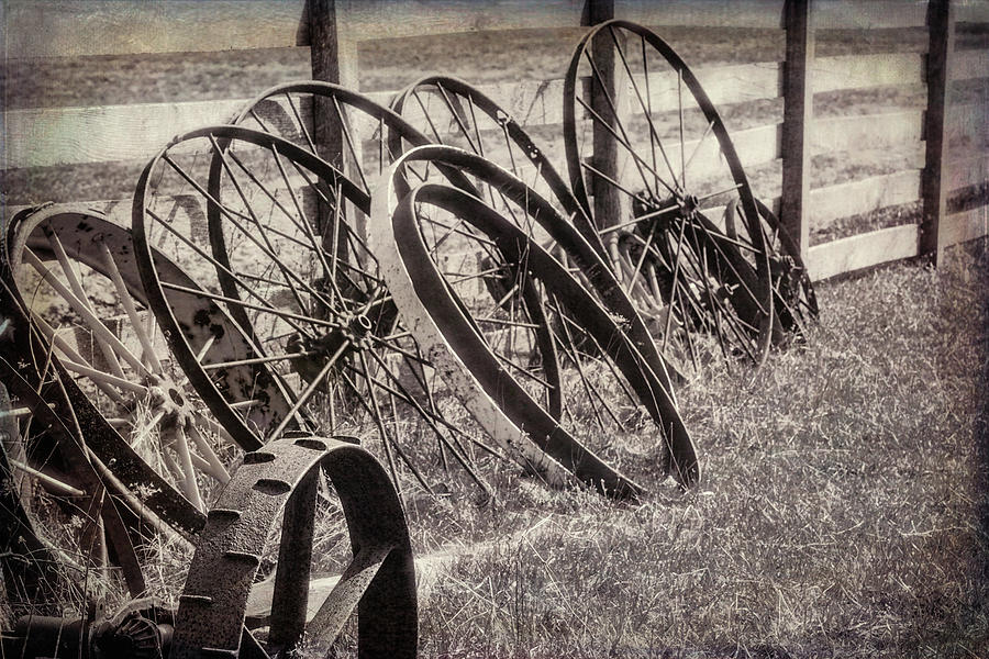 Antique Photograph - Antique Wagon Wheels I by Tom Mc Nemar