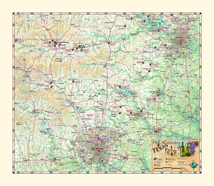 Texas Hill Country Map by Texas Map Store