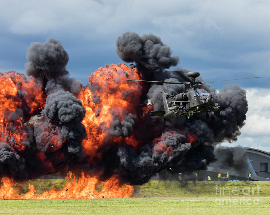 British Photograph - Boeing Apache Longbow  Helicopter Exercise by Philip Pound