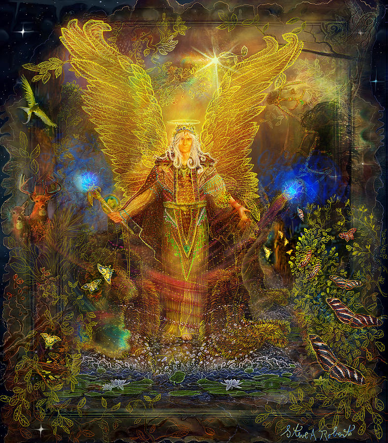 Angel Painting - Archangel Michael-angel Tarot Card by Steve Roberts