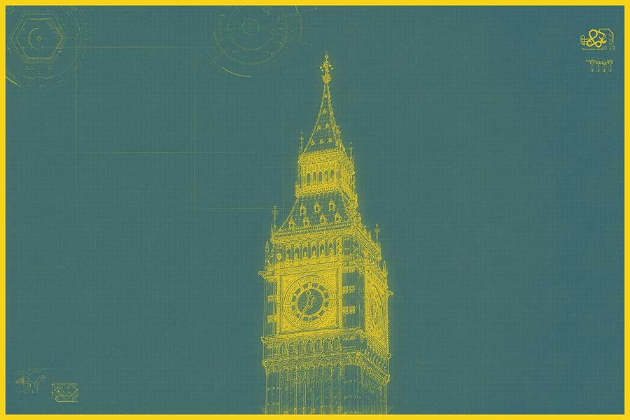 Archtecture blueprint bigben tower london 2 painting by celestial construction painting archtecture blueprint bigben tower london 2 by celestial images malvernweather Images