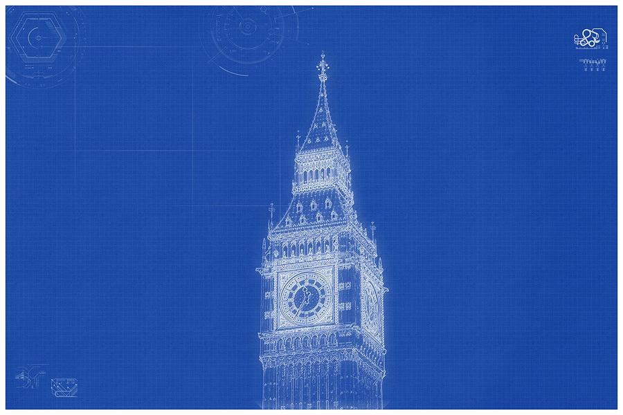 Construction Painting   Archtecture Blueprint   Bigben Tower, London By  Celestial Images