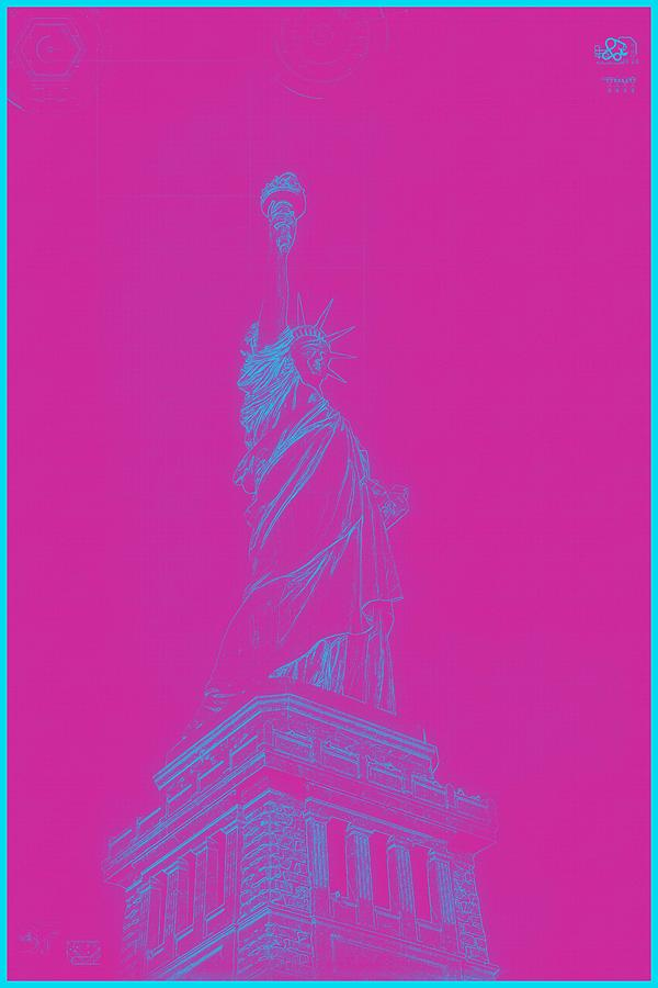 Archtecture Blueprint - Statue Of Liberty 2 Painting