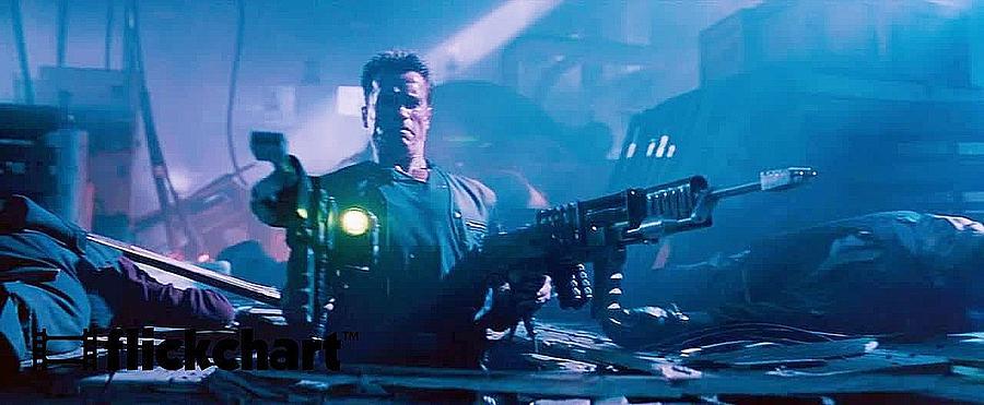 Arnold Schwarzenegger Firing Dual Em-1 Railguns Eraser 1996 Photograph by David Lee Guss