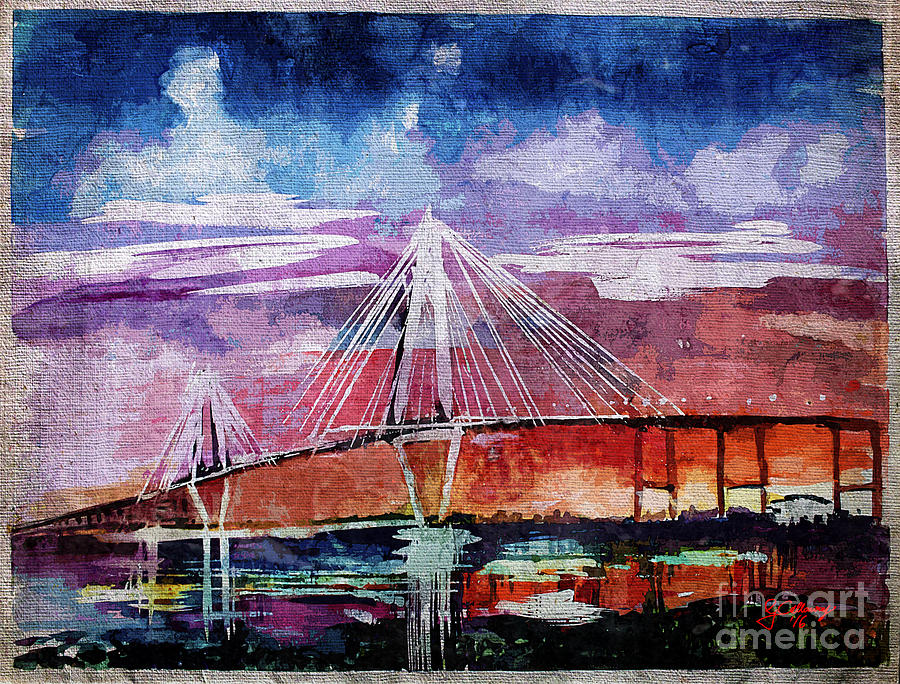 Arthur Ravenel Jr Bridge Charleston Painting by Ginette Callaway