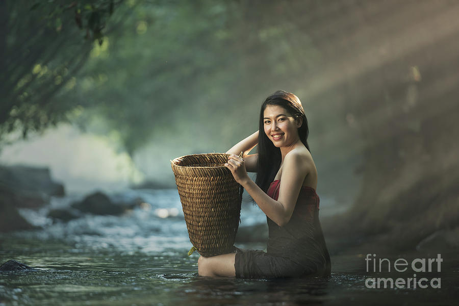 Asian Sexy Woman Bathing In Cascade Photograph By Sasin Tipchai-9672