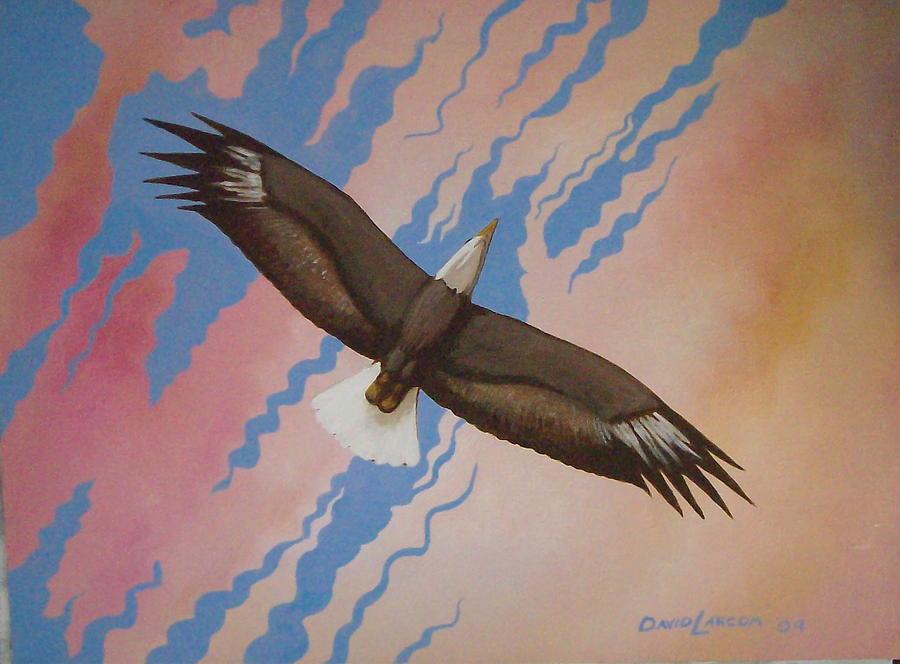 Eagle Painting - At Home by David  Larcom