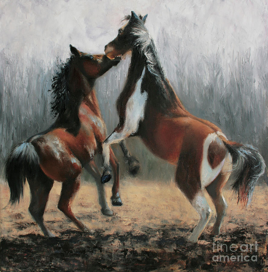 Equestrian Artwork Painting - At Play by Terri  Meyer