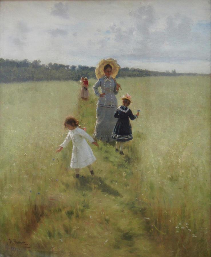 Ilya Repin Painting - At the Boundary by Ilya Repin