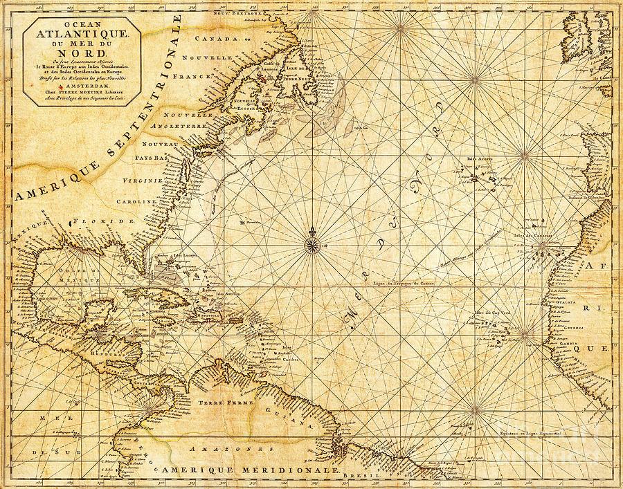 Atlantic Ocean Caribbean Sea Vintage Maritime Map Photograph By - Caribbean sea map