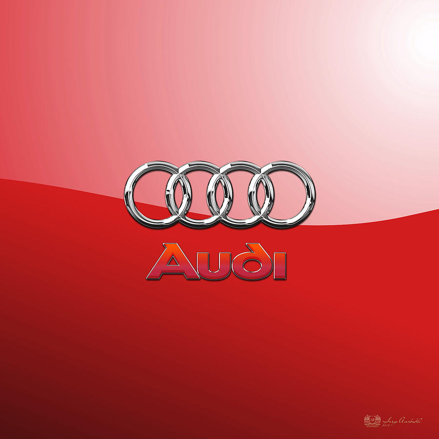Audi Logo Photograph - Audi - 3D Badge on Red by Serge Averbukh