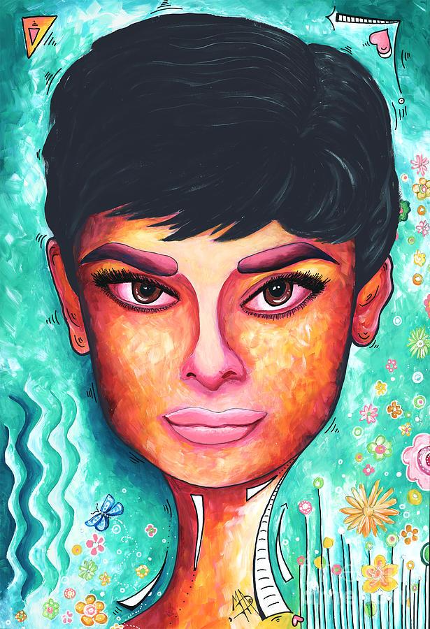 Audrey Hepburn Colorful Pop Art Style Original Painting By
