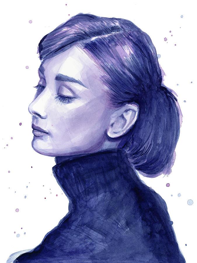 Watercolor Painting - Audrey Hepburn Portrait by Olga Shvartsur