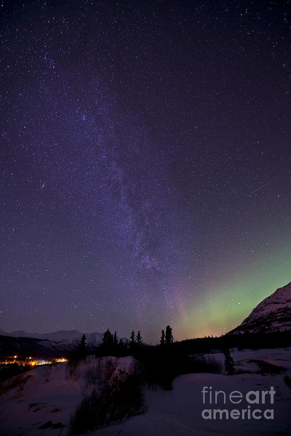 Vertical Photograph - Aurora Borealis And Milky Way by Jonathan Tucker