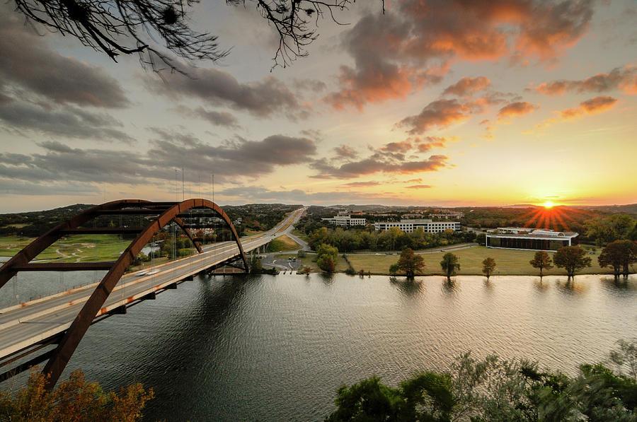 Austin Photograph - Austin Pennybacker 360 Bridge Sunset by Preston Broadfoot