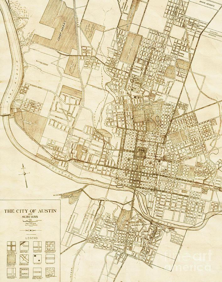 Austin Texas Vintage City Map Photograph by ELITE IMAGE photography ...