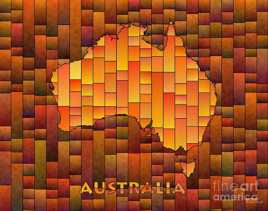 Australia Digital Art - Australia Map Glasa In Orange by Eleven Corners