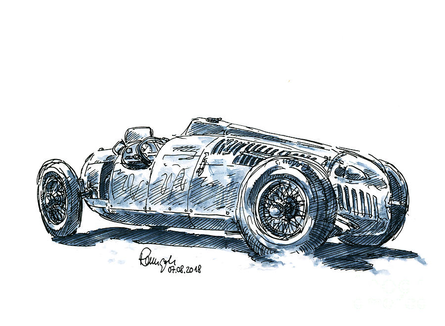 Classic Drawing - Auto Union Typ C Classic Racecar Ink Drawing and Watercolor by Frank Ramspott
