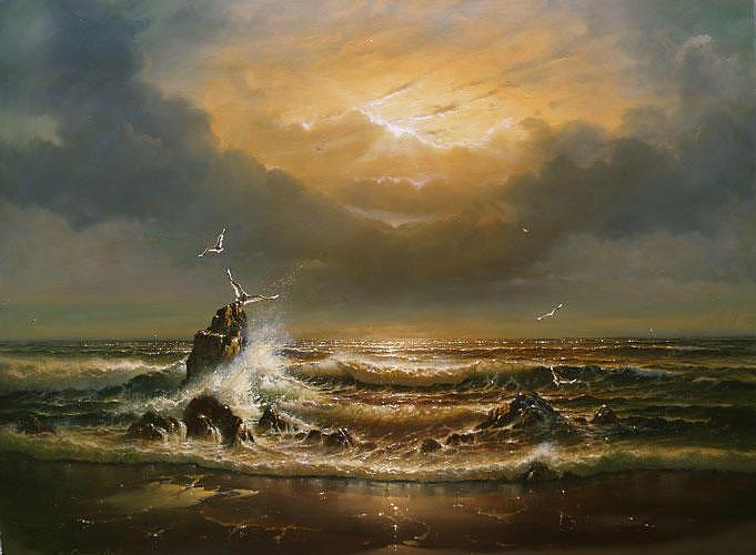 Seascape Painting - Autumn Dawn by Edward Barton