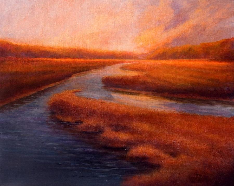 Marsh Painting - Autumn Glory by Jan Blencowe