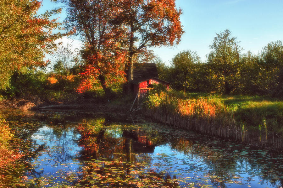 Red Barn Photograph - Autumn Palette by Joann Vitali