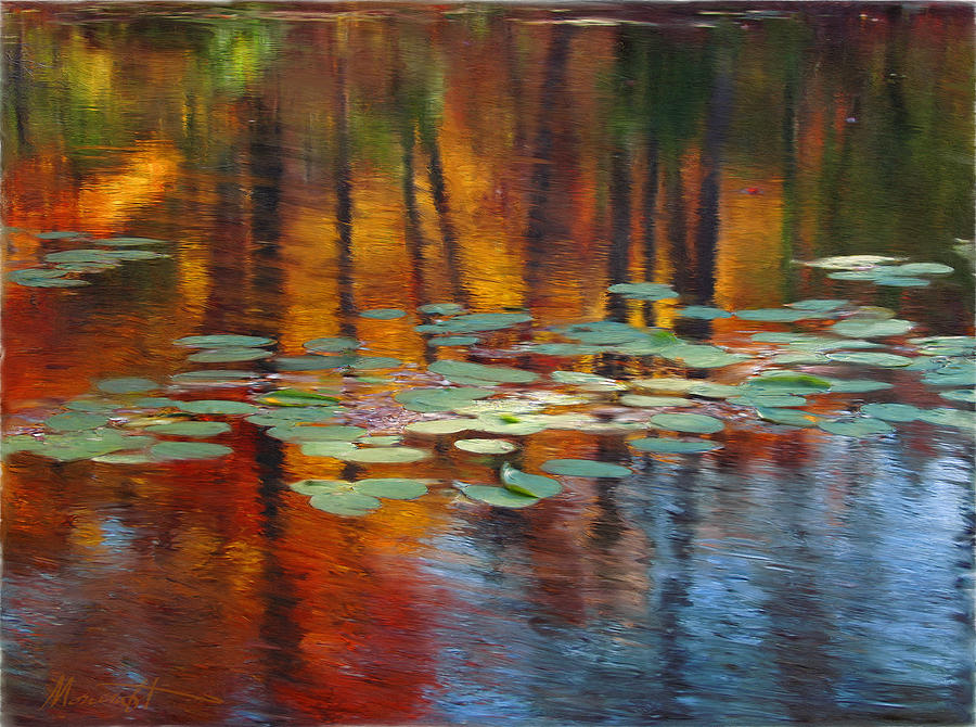 Digital Painting Painting - Autumn Reflections I by Ron Morecraft
