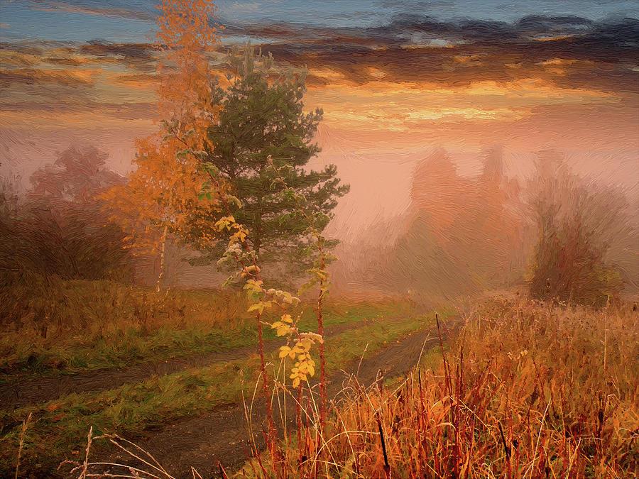 Autumn Digital Art - Autumn Road by Alex Lim