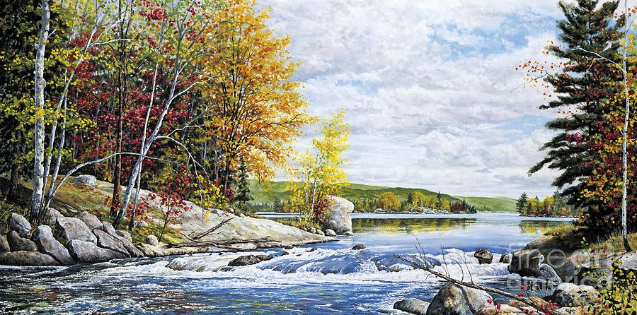 Lake Painting - Autumn Splendor by Roger Witmer