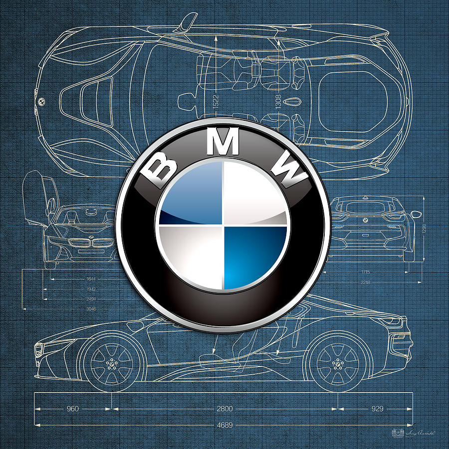 Car Photograph   B M W 3 D Badge Over B M W I8 Blueprint By Serge Averbukh