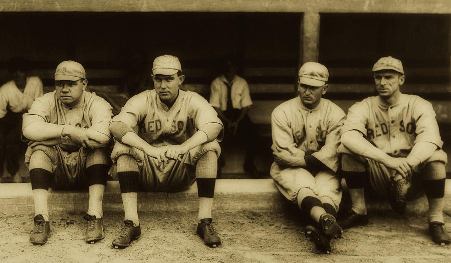 Old Photographs Photograph - Babe Ruth On Far Left With The Boston Red Sox 1915 by Library Of Congress