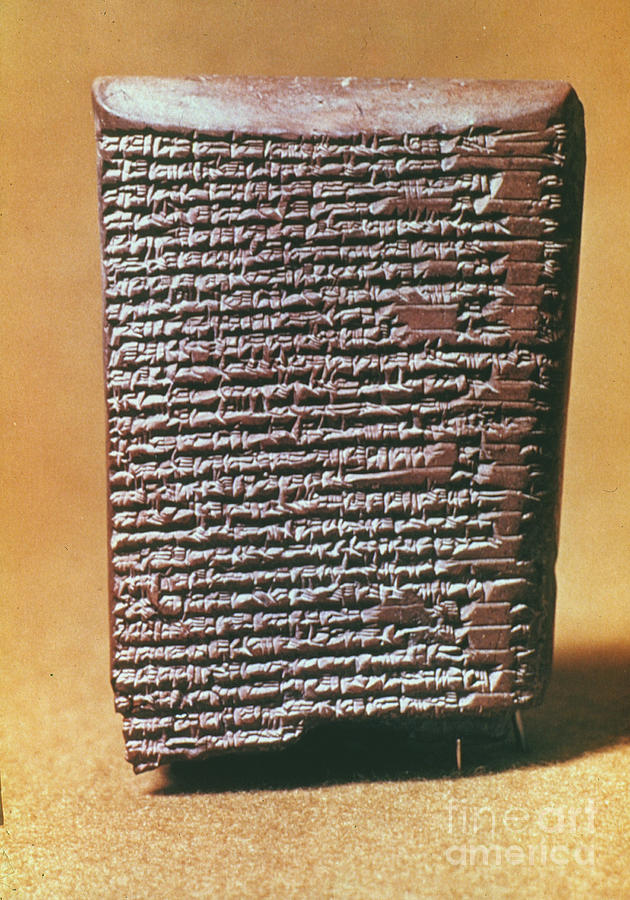 Ancient Photograph - Babylonian Clay Tablet by Granger