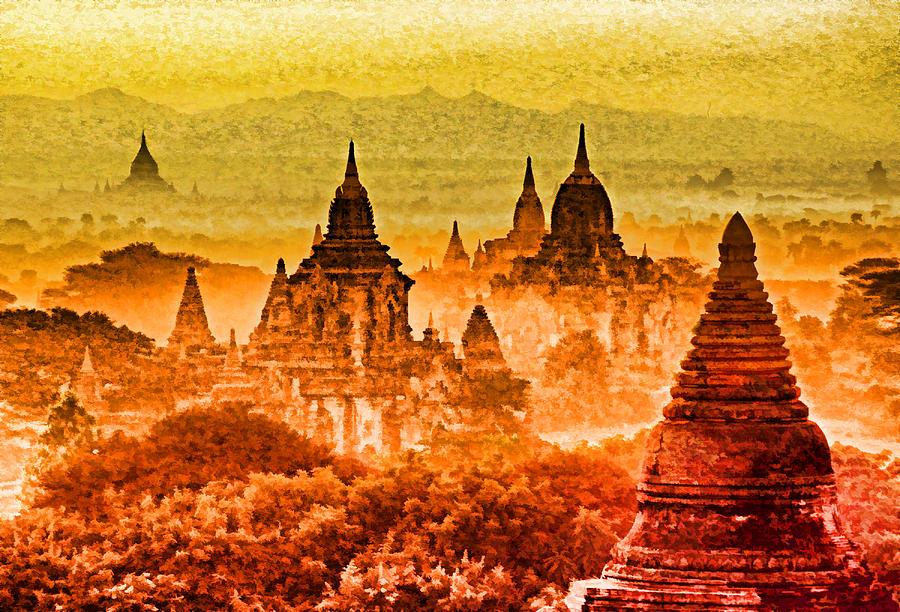 Bagan Photograph - Bagan Pagodas by Dennis Cox