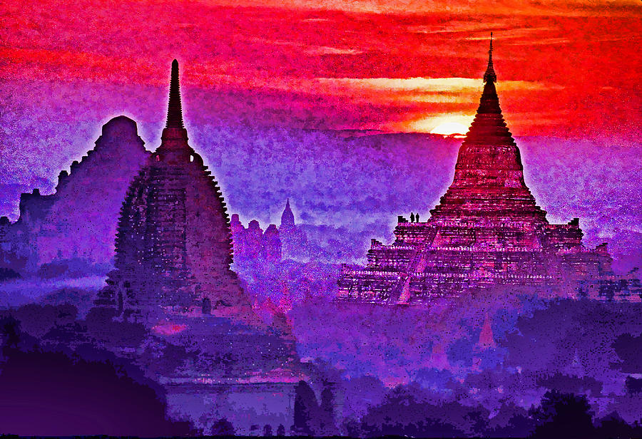Temples Photograph - Bagan Sunrise by Dennis Cox