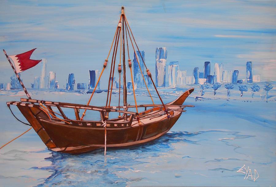 Bahrain Boat Painting By Eric Shelton
